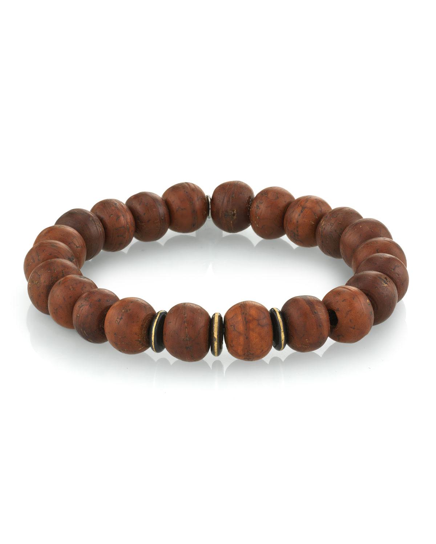 Men's Wood Bead Bracelet w/ Spacers
