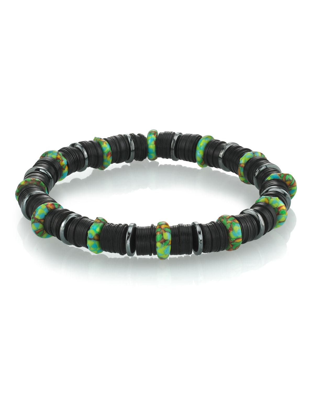 Men's 8mm Black Vinyl Beaded Bracelet with Green Rondelles