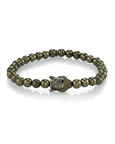 Men's Pyrite Bracelet w/ Buddha Head, 6mm