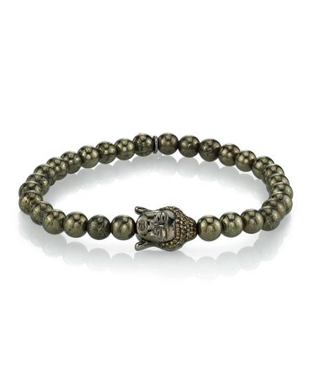 Mr. Lowe Men's Pyrite Bracelet w/ Buddha Head, 6mm