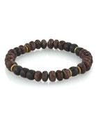 Mr. Lowe Men's Coffee Quartz Bracelet w/ Ebony,