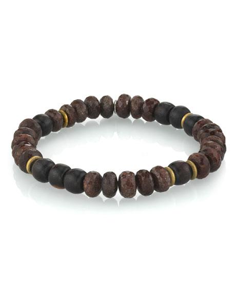 Mr. Lowe Men's Coffee Quartz Bracelet w/ Ebony, Size M