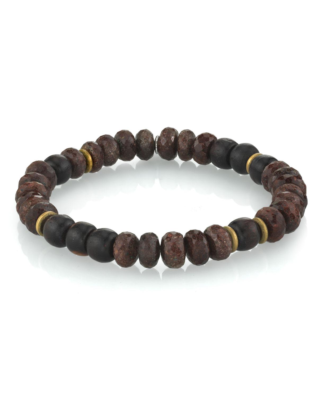 Men's Coffee Quartz Bracelet w/ Ebony