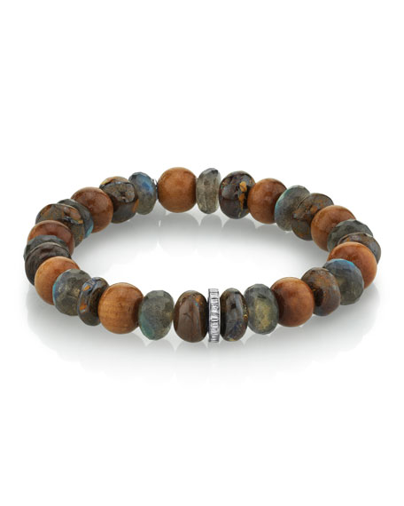 Mr. Lowe Men's Brown Mixed-Bead Bracelet, Size M