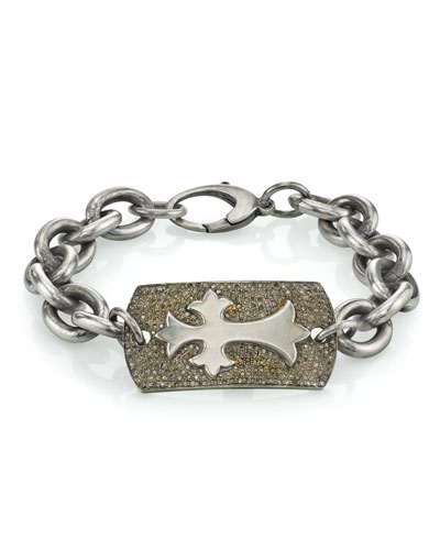 Men's Diamond Pave Cross Bracelet, Size M