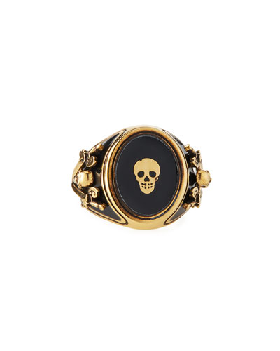 Men's Enamel Skull Signet Ring