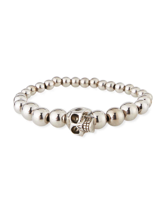 Men's Skull & Bead Bracelet