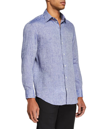 Men's Linen Sport Shirt, Medium Blue