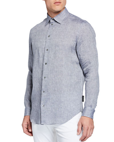 Men's Linen Sport Shirt, Gray