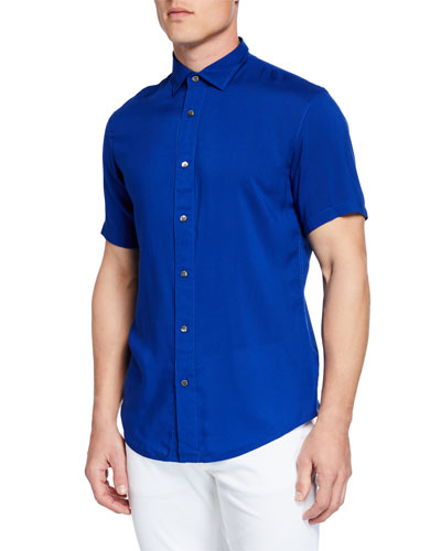 b2b22ca46 Quick Look. Emporio Armani · Men s Short-Sleeve Woven Viscose Shirt.  Available in Blue