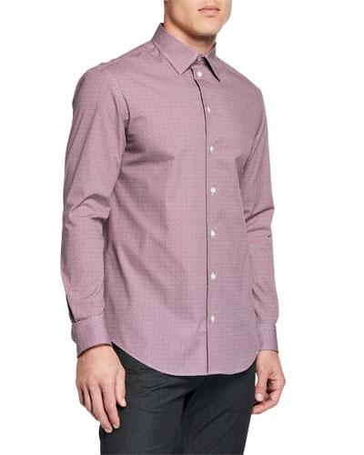 Men's Geo Pinwheel Pattern Sport Shirt, Red