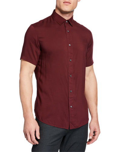 Men's Short-Sleeve Woven Viscose Shirt