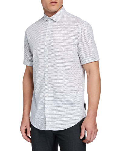 Men's Short-Sleeve Micro-Diamond Shirt