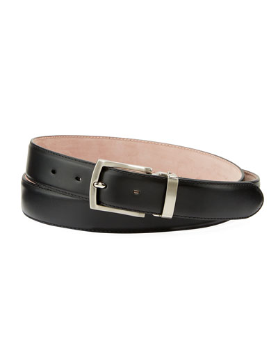 Men's Leather Square-Buckle Belt, Black