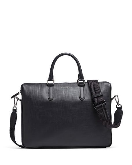 Ermenegildo Zegna Men's Stuoia Printed Calf Leather Briefcase