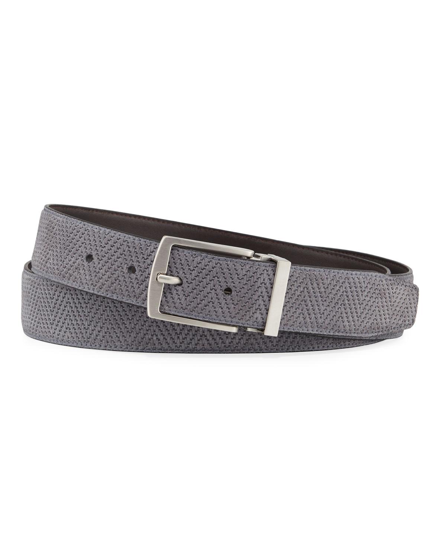 Men's Reversible Chevron Suede/Leather Belt