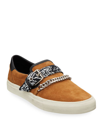 Men's Suede Slip-On Bandana Sneakers