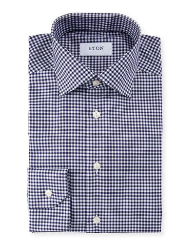 Men's Slim Fit Gingham Check Dress Shirt