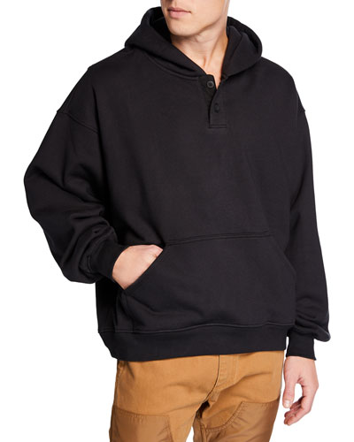 Men's Everyday Henley Pullover Hoodie