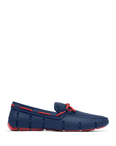 Mesh & Rubber Braided-Lace Boat Shoes, Navy/Red Alert