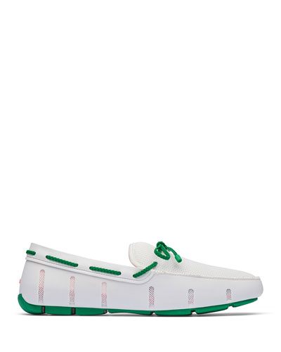 Mesh & Rubber Braided-Lace Boat Shoes, White/Green