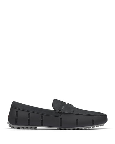 Men's Luxe Nubuck Penny Driver Loafers, Black/Gray
