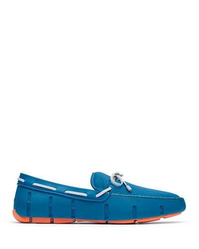 Men's Mesh & Rubber Braided-Lace Boat Shoes, Seaport Blue/Alloy