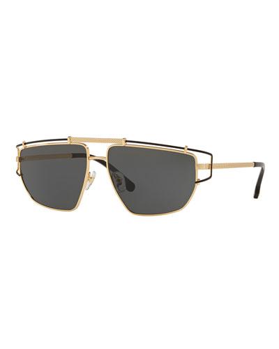 Men's Wrap-Style Aviator Sunglasses