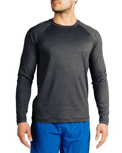 Men's Reign Heathered Long-Sleeve T-Shirt, Black