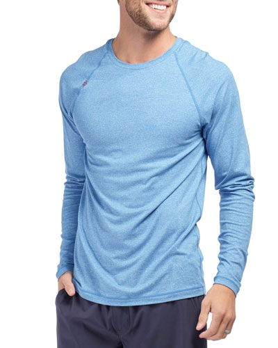 Men's Reign Heathered Long-Sleeve T-Shirt, Track Blue