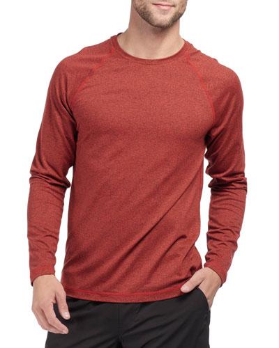 Men's Reign Heathered Long-Sleeve T-Shirt, Cherry Red