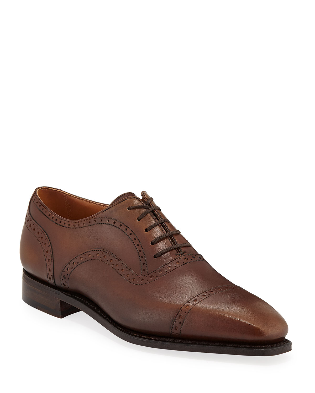CORTHAY Men'S Cap-Toe Dress Shoes With Brogue Details in Brown