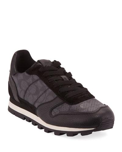 Men's C118 Runner Signature Low-Top Leather Sneakers
