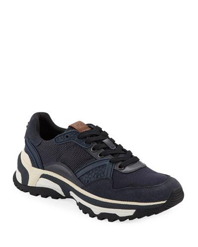 Men's C143 Runner Monochrome Leather Sneakers
