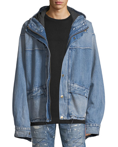 Men's Oversized Hooded Denim Parka Jacket