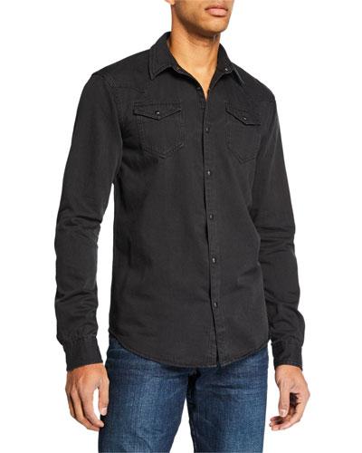 Men's Slim Fit Denim Sport Shirt
