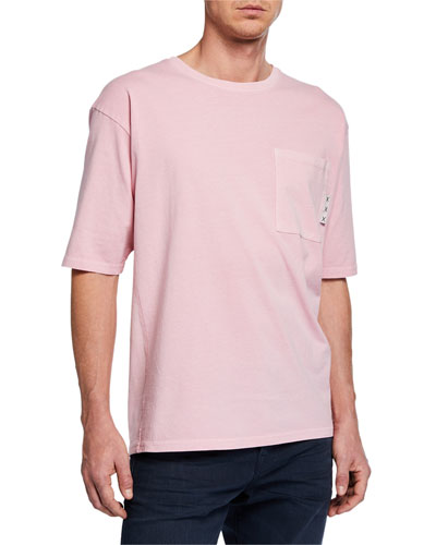 Men's Amsterdams Blauw Oversize Garment-Dyed T-Shirt with Pocket