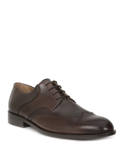 Men's Salvatore Leather Wing-Tip Lace-Up Shoes