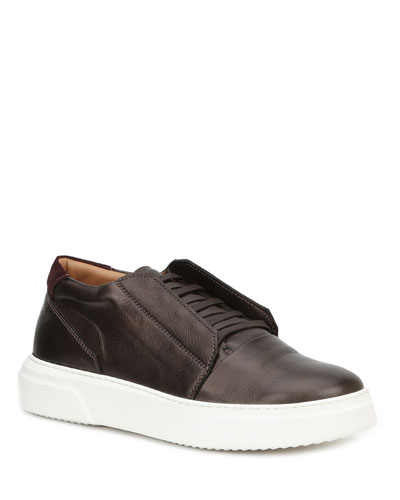 Men's Phoster Stretch-Laced Leather Sneakers, Bronze