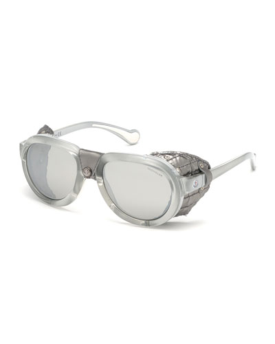 Men's Round Mirrored Sunglasses w/ Leather Side Blinders