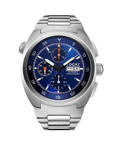 Men's 45mm Air Defender Chronograph  Stainless Steel Bracelet Watch, Blue