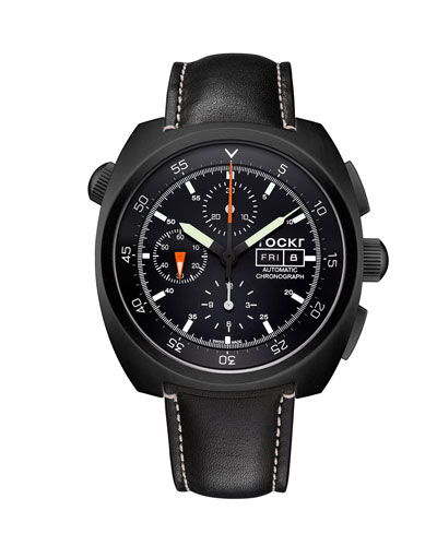 Men's 45mm Air Defender Leather Chronograph Watch