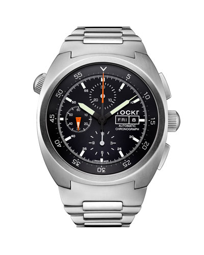 Men's 45mm Air Defender Chronograph Stainless Steel Bracelet Watch, Black
