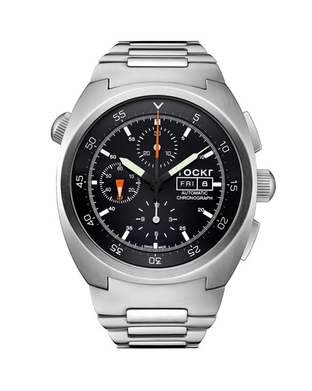Tockr Watches Men's 45mm Air Defender Chronograph Stainless Steel Bracelet Watch, Black