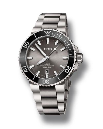 Men's 43.5mm Aquis Automatic Titanium Watch, Gray