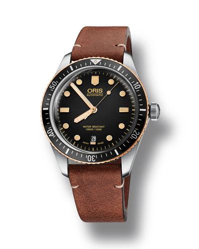 Men's 40mm Diver Bracelet Watch w/ Bronze, Black/Brown