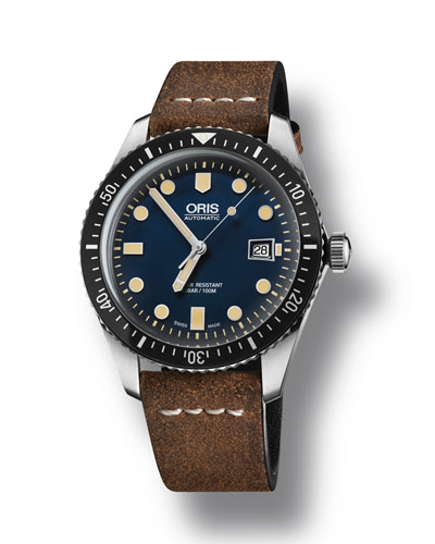 Men's 42mm Diver Watch w/ Leather Strap, Blue/Brown