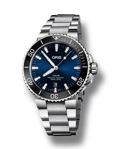 Men's 43.5mm Aquis Automatic Bracelet Watch, Blue/Steel