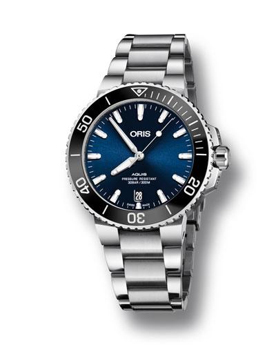 Men's 39.5mm Aquis Automatic Bracelet Watch, Blue/Steel
