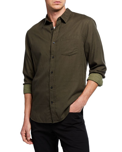 Men's Solid Double Face Long-Sleeve Sport Shirt